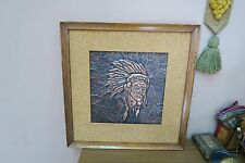 Vintage Indian Chief Head Copper Relief Picture Embossed Painting