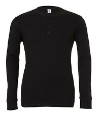 Canvas Mens Long Sleeve Henley T-shirt Mans Cotton Tee Buttons S-xxl 4 Colours Black S