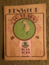 Kenwood Golf & Country Club 50 Years 1928-1978 Retrospective Bethesda, MD