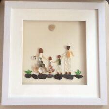 Personalised family picture, Seaglass Seashells, Pebbles Art, Unique Art Gift