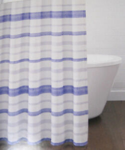 Croscill Zoey Horizontal Stripe Shower Curtain Cotton 72 x 72 In. Blue