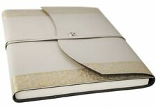 Angelus Recycled Leather Journal Gold, A4 Plain Pages - Handmade in Italy
