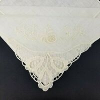 Vintage Handkerchief Embroidered and Lace White Floral