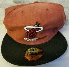 BNWT Miami Heat Black Red/Orange New Era 59Fifty Fitted Hat 7 3/4 Corduroy Cap