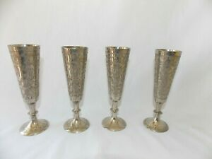 """Set 4 Etched Silver-plate Over Brass Cordial Cup Flute World Gift ZY India 5"""""""