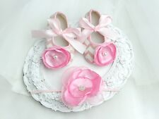 VINTAGE BABY GIRLS SHOES & HEADBAND SET PINK &WHITE-CRYSTAL & PEARLS CHRISTENING