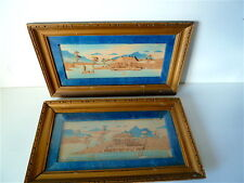 Paintings Pair of diorama forming pendant marine temple wood China XIX° th