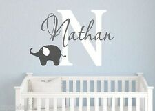 Monogram name elephant vinyl lettering wall decals nursery words family kids