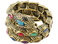 Lovely and Charming  Antique Gold Tone Multicolor Crystal Snake Wrap Bracelet