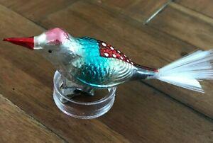 Vintage Germany Mercury Glass Bird Clip Ornament Beautiful Detail & Colors!