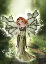 Nature Fairy Birthday Card women/girls natural & pretty red head in green dress