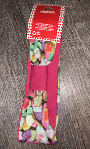 Claire's Valentines Candy Heart Soft Pink Purple Rainbow Stretchy Headband