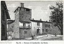 ROMANO DI LOMBARDIA: La Rocca. Pianura Bergamasca. Bergamo. Stampa Antica. 1898