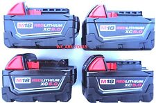 (4) New 18V Milwaukee 48-11-1850 5.0 AH Batteries M18 18 Volt XC 5.0 48-11-1852
