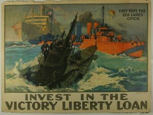 WWI Poster They kept The Sea Lanes Open Warship submarine Victory Liberty Loan