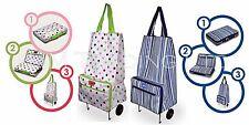 Sabichi Blue Stripe Shopping Trolley Light 2 Wheels Grossery Bag Folding 99549 F