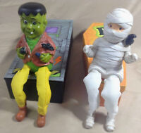 Frankenstein And Mummy Figurines With Mary Jo Hull Box Art - Great For Halloween