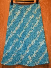 Womens Blue Floral Pierre Cardin Flat Front Lined Skirt Size Small Medium Petite