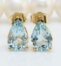 Women Natural Blue Aquamarine 3.00 CTW in 14K Solid Yellow Gold Stud Earrings