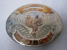 1980s WESTERN FLAIR SILVERPLATE w GOLD RIBBON & SADDLE COWBOY RODEO BELT BUCKLE