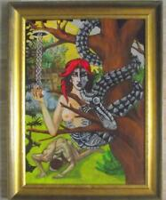 Snake Eve in Eden Framed Surrealist Original Oil Painting by Derek Grant Smith