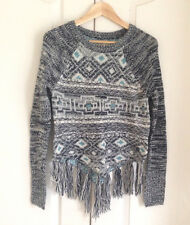 Hollister Women Sweater Sz XS Poncho Fringe Gray Turquoise Geo Long Sleeves New