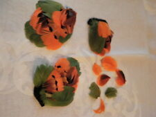 "Vintage Millinery Flower Feather Trim Collection 5"" Orange Brown Green H1413"