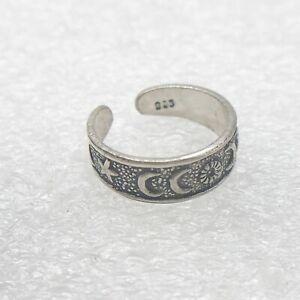 Vintage Solid 925 Silver Adjustable Regal Rose Toe Ring