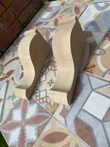 A Pair Of Large Rustic French Oak Corbels(bare Wood)