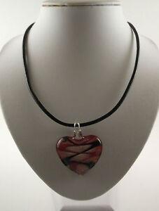 "Handmade Silver Foil Glass Black/Red Heart Pendant & 18"" Black Leather Cord."
