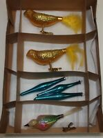 Vintage Glass Xmas Ornaments Set 6 FIGURAL BIRDS & ICICLE Clips Glitter Feather