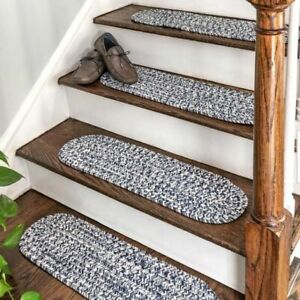 Set of 12 Natural Braided Stair Tread - Blue & White - Oval