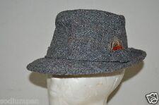 RARE Vintage Brooks Woolen Grey Tweed 6 7/8 Bucket Fedora Hat Wool Cap Hipster