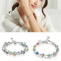 "Fashion Jewelry Beads Bracelet Glass Bracelets Adjustable For Women Girls 7""+2"""