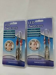 2 LED Tweezers - New  Pluck In The  Dark,  Batteries included! Easy To Use 2 Pcs