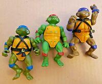 TMNT Teenage Mutant Ninja Turtles - LOT OF 3 1988 *Leo Donatello & Raphael* T23