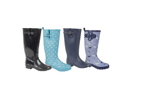 LADIES WIDE CALF FITTING FASHION WELLIES/WELLINGTON BOOTS BLACK NAVY GLITTER
