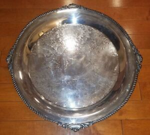 SERVING TRAY ROUND SILVER PLATE  KING GEORGE