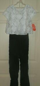 New Girls Large 10-12 Soutache Jumpsuit Wonder Nation Black White Sequins