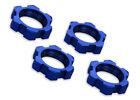 Traxxas Part 7758 Wheel nuts splined 17mm serrated blue anodized 4 Brand New