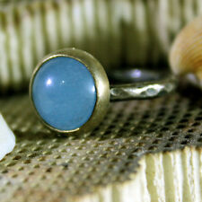 Brushed Roundband Handmade Aquamarine Stack Ring 24K Gold Over Sterling Silver