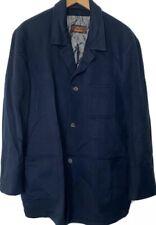 BRIONI navy blue cashmere patch pocket leather trim unstructured blazer XL 56L