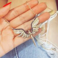 Exquisite Women Alloy Gold  Full Crystal Wing Guardian Angel Pendant Necklace