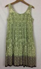 Faith Passion Dress Cotton Sleeveless Geometric Floral Print Empire Waist Size 6