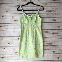 Lilly Pulitzer Womens Sz 4 Green White Safari Print Spaghetti Strap Sheath Dress