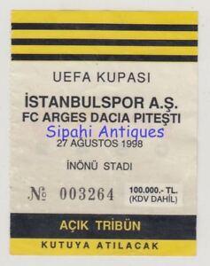 ISTANBULSPOR - FC ARGES DACIA PITESTI 1998 UEFA CUP SOCCER FOOTBALL MATCH TICKET