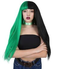 Green Half Black Straight Long Bob Wig Cosplay Melanie Lolita Synthetic HW-1082