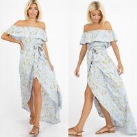 Womens Blue Green Summer Floral Bardot Maxi Dress