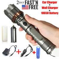 9000000Lumens T6 Rechargeable Tactical LED Flashlight  5 Modes Torch+2x Charger