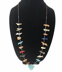 Necklace Heishi Fetish Turquoise Carved Eagle Zuni Strand Southwest Silver Tone